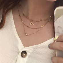 Tiny Gold color Bee Necklace Ball Chain Small Stone Layered Necklace For Women Girl Dainty Necklace