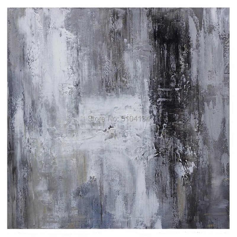 Besar Asli Lukisan Minyak Abstrak Seni Kontemporer Yang Dilukis dengan Tangan Besar Dinding Seni Dekorasi Hitam Putih Minyak Lukisan Abu-abu Besar seni