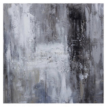Large original abstract oil painting Contemporary Art Hand-painted wall decor Black white Oil grey large