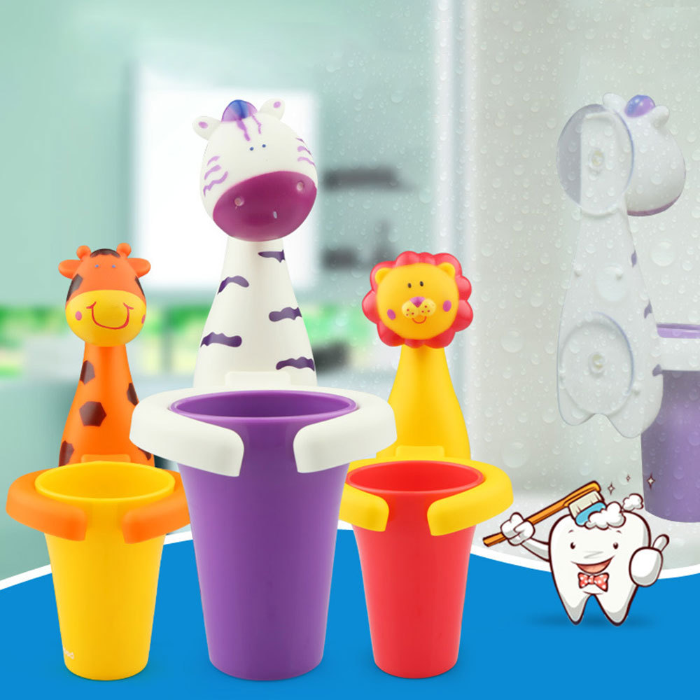 Toothbrush Holder Cartoon Suction Cup Suction Hooks Baby Children Kids Toothbrush Sucker Cute Animal Giraffe Pig Dental Care Cup image