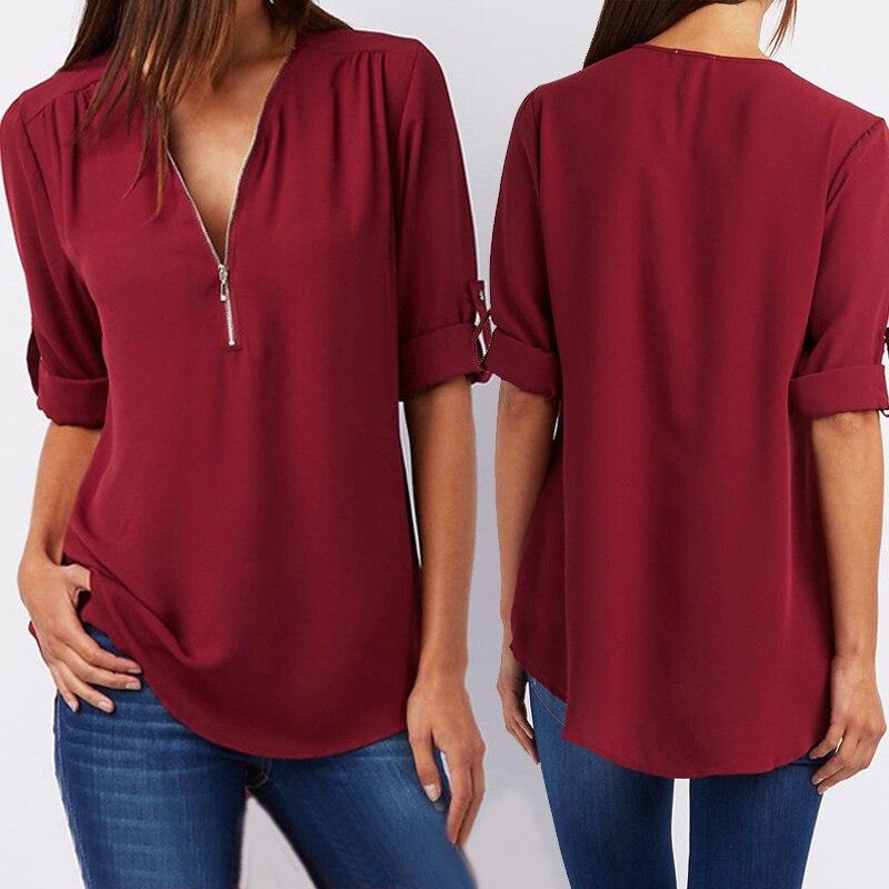 Mulheres chiffon com decote em v blusa verão outono casual meia manga sólida tops solto zíper bluses camisas plus size
