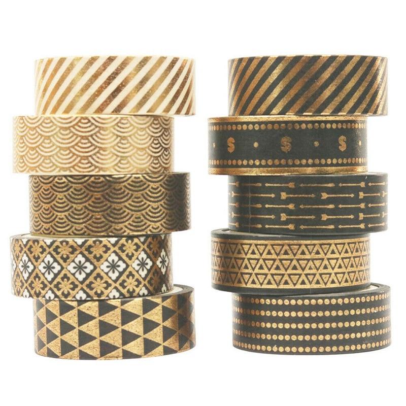 10 Rolls Black Gold Foil Washi Tape Set Paper Scrapbooking Adhesive Masking DIY