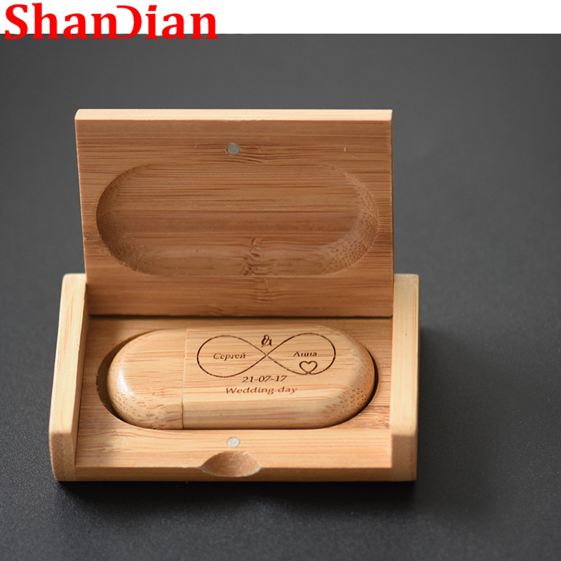 SHANDIAN  Fashion Hot Selling Oval Wood Bile + Flip Box USB Flash Drive USB 2.0 4GB 16GB 32GB 64GB External Storage Memory Disk