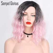Stamped Glorious 14inches Ombre Black Pink Curly Wig Synthetic Wig