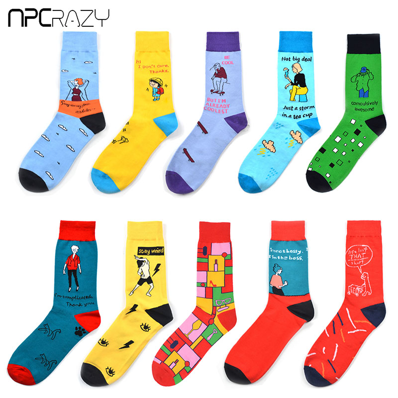 New Fashion Comic Pattern Funny Socks Men Or Women Combed Cotton Colorful Happy Socks Srick And Morty Skarpetki US8.5-13