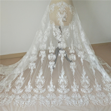 fashion beaded  flower fabric embroidery   decorative fabric  lace for dress