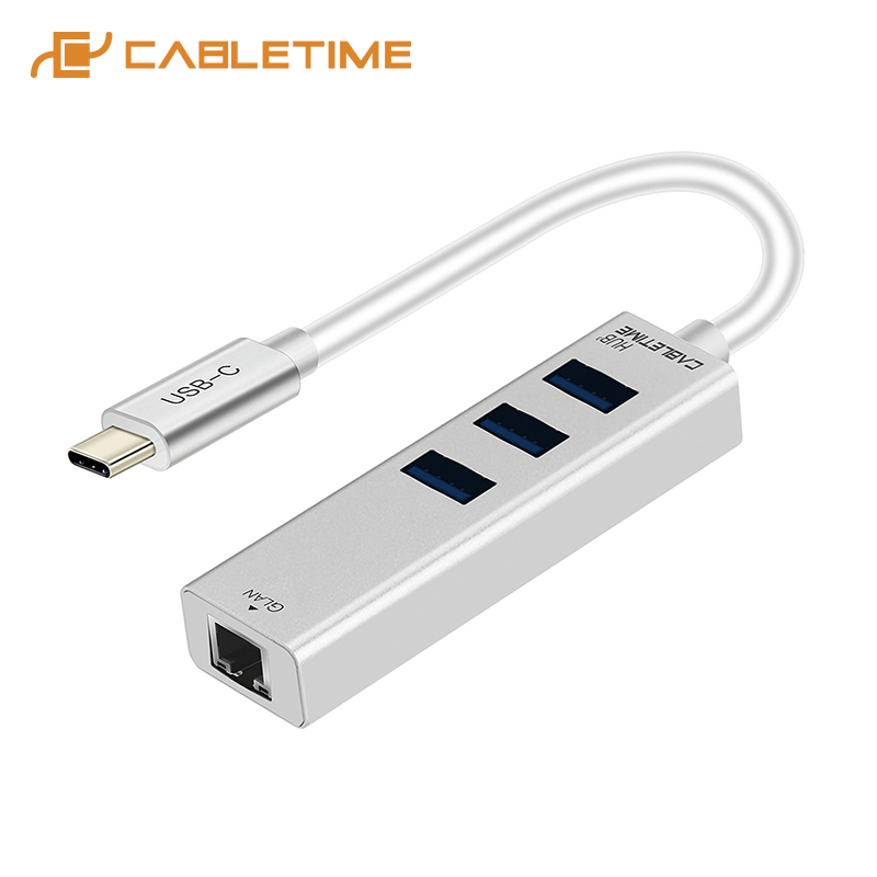 CABLETIME 2019 USB C Ethernet HUB Type C To USB 3.0 RJ45 Network Card 4 In 1 HUB For Windows 10 Box 3 Android TV USB Lan C046