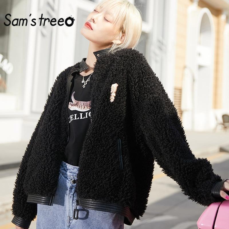 Sam's Albero Solido Nero Teddy Pigro Calore Lana D'agnello Delle Donne Cappotto 2020 di Inverno Bianco Puro Cammello Cerniera Oversive Outwears Femminili