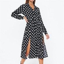 купить Autumn Dress Dot Hem Slit Turn-down Collar Long-Sleeve Black Chiffon Dress по цене 996.51 рублей