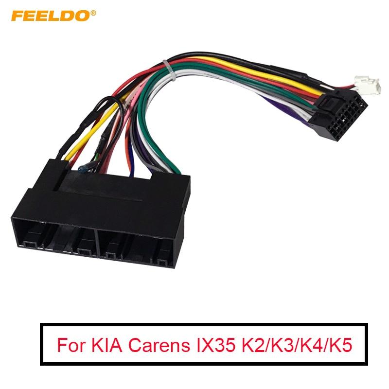 FEELDO 1PC Car Radio Audio 16PIN Wiring Harness Adaptor For KIA Carens IX35 K2/K3/K4/K5 Power Calbe Wire Plug Harness
