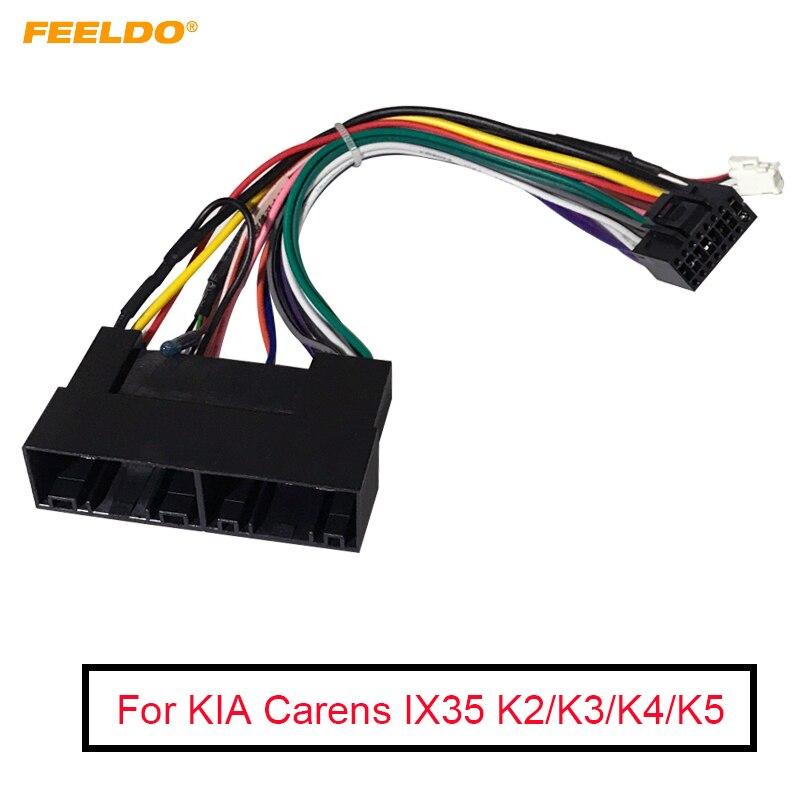 FEELDO 5Pcs Car Radio Audio 16PIN Wiring Harness Adaptor For KIA Carens IX35 K2/K3/K4/K5 Power Calbe Wire Plug Harness