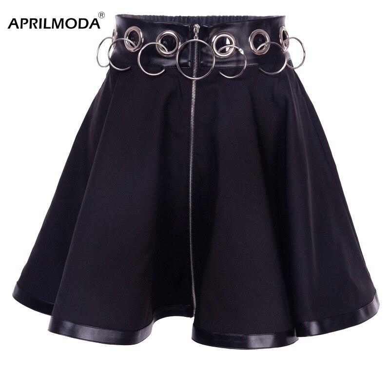 Летняя женская юбка в готическом стиле, женские открытые юбки из искусственной кожи, черное железное кольцо, Женская мини-юбка в стиле