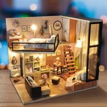 Миниатюрный Кукольный домик со светодиодной подсветкой, набор мебели, Сборная модель, кукольный домик ручной работы, деревянные разноцветные игрушки, подарок на день рождения