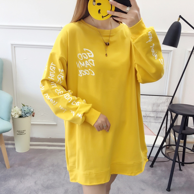 2019 autumn new Korean version of the XL T-shirt women's thin section long-sleeved loose hole wild T-shirt shirt women 59