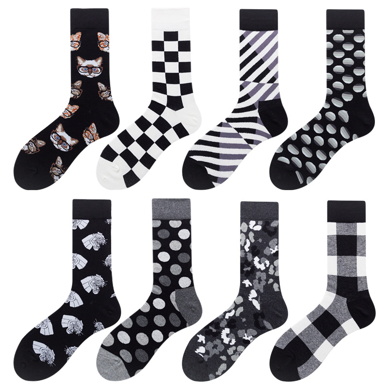 2pcs/1 Pair Korean Harajuku Checkerboard Socks Style Geometric Checkered Socks Men Hip Hop Cotton Unisex Happy Funny Socks