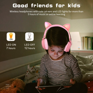 Image 2 - Cute Cat LED Bluetooth 5.0 Headphone With TV PC Car Laptop Bluetooth Adapter Wireless Noise Cancel Music Helmet For Kid Girl