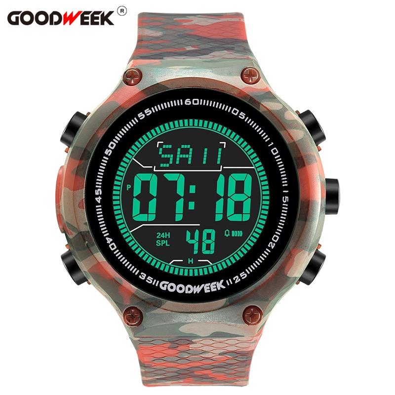 GOODWEEK Men Sport  Watch Led Digital Watches Analog Military Army Waterproof Electronics Wrist Reloj Hombre