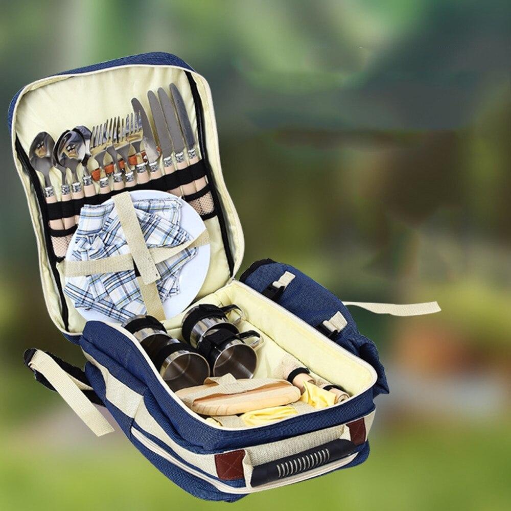En plein air 4 personnes pique-nique sac à dos sac à dos Portable Camping BBQ sac à déjeuner avec vaisselle ensemble sacs de pique-nique