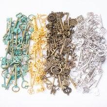 100g venda quente metal chaves misturado pingente antigo bronze pulseira colar artesanal produção de jóias por atacado