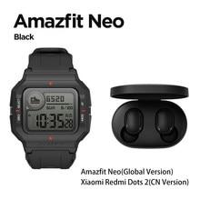 Global amazfit neo moda smartwatch design retro 28 dias vida útil da bateria 5atm freqüência cardíaca sono rastreamento moda relógio inteligente