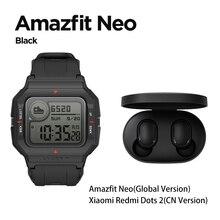Küresel Amazfit Neo moda Smartwatch Retro tasarım 28 gün pil ömrü 5ATM kalp hızı uyku izleme moda akıllı saat