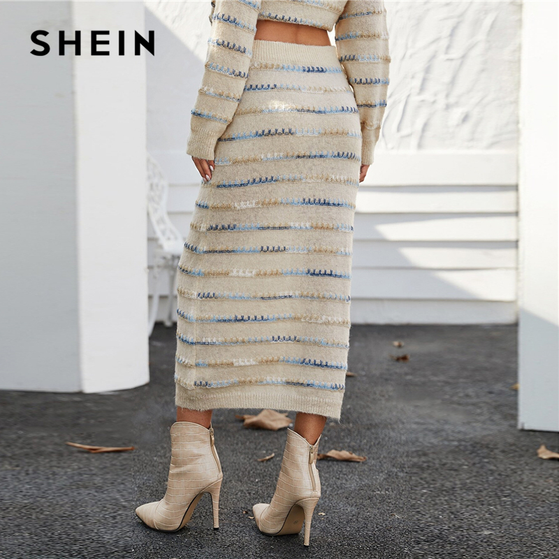 SHEIN Beige Tie Dye Whipstitch Fuzzy Casual Sweater Skirt Women Bottoms Spring Streetwear Colorful Stretchy Ladies Long Skirts 2
