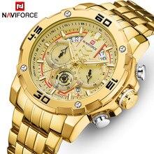 NAVIFORCE zegarki dla mężczyzn wodoodporny kwarcowy zegar analogowy moda ze stali nierdzewnej Luminous złoty zegarek mężczyźni Sport Relogio Masculino