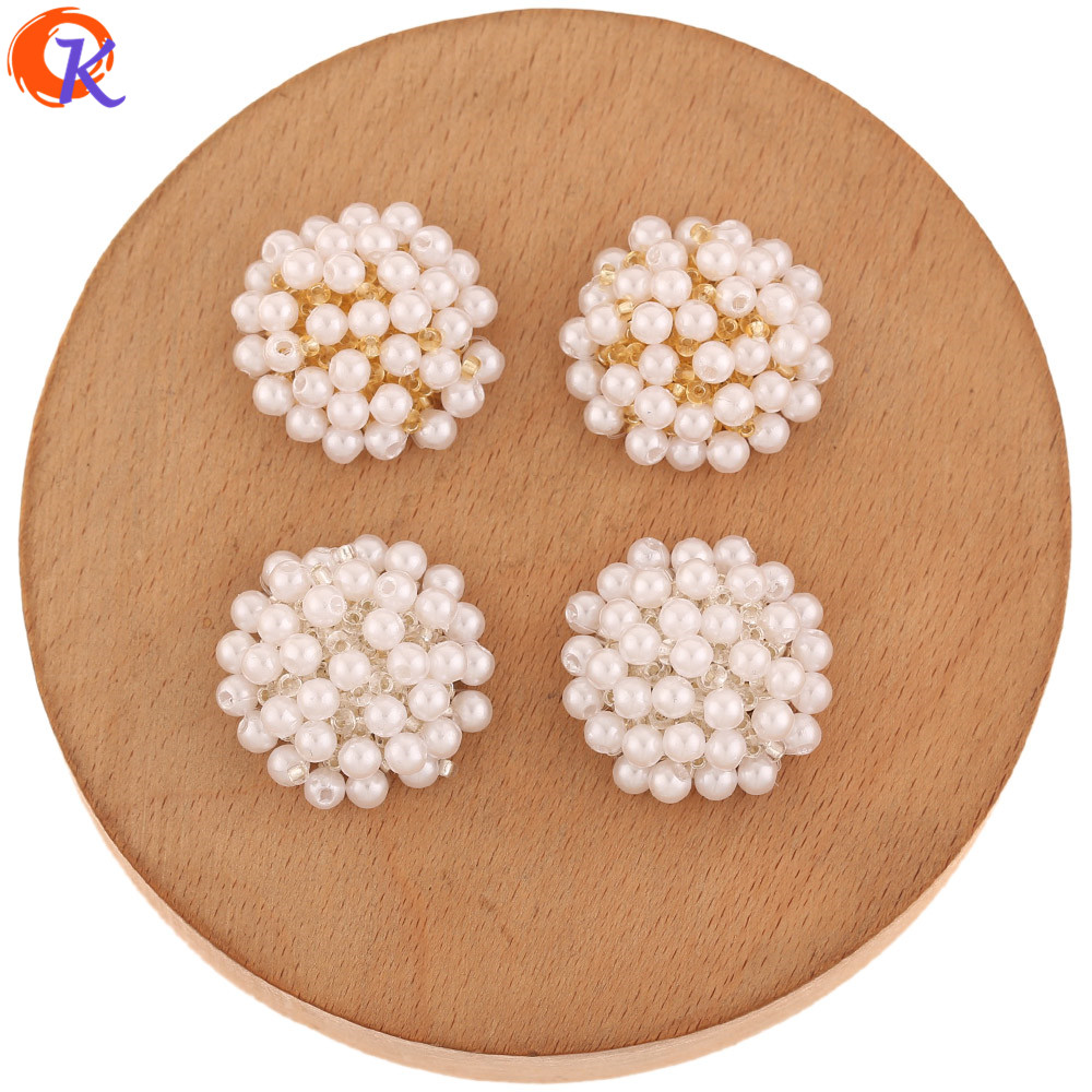 Cordial Design 30Pcs 25*25MM Earring Findings/Jewelry Accessories/Hand Made/Imitation Pearl/DIY Jewelry Making/Seed Bead Charms
