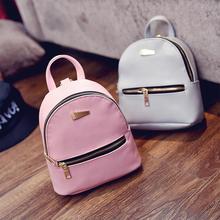 Female PU Leather Backpack For School Girls Bags Mini Travel Backpacks Kids Pink College Women