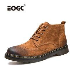 Botas de cuero genuino para hombre Botas de tobillo de otoño invierno calzado de moda Zapatos de cordones para hombre zapatos de hombre Vintage de alta calidad