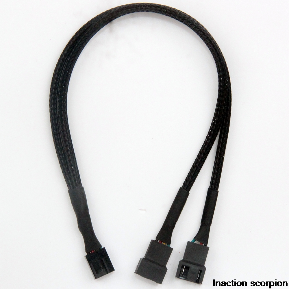 Black Braided Cabl Y Splitter 3/4 Pin PWM Fan Computer PC Fan Power Extension Cable 30cm Computer Cables Connectors Accessories