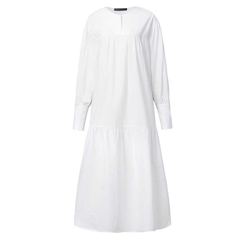 Moda kadın Ruffles Maxi uzun elbise ZANZEA bahar uzun kollu elbise katı Sundress Casual gevşek parti Vestido Robe Femme elbiseler