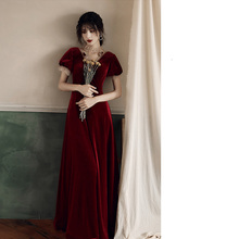 Red Velvet Hollow Out Lace-Up Woman Robe Long V-Neck Backless Party Dress Tulle Lantern Sleeves Evening Gowns
