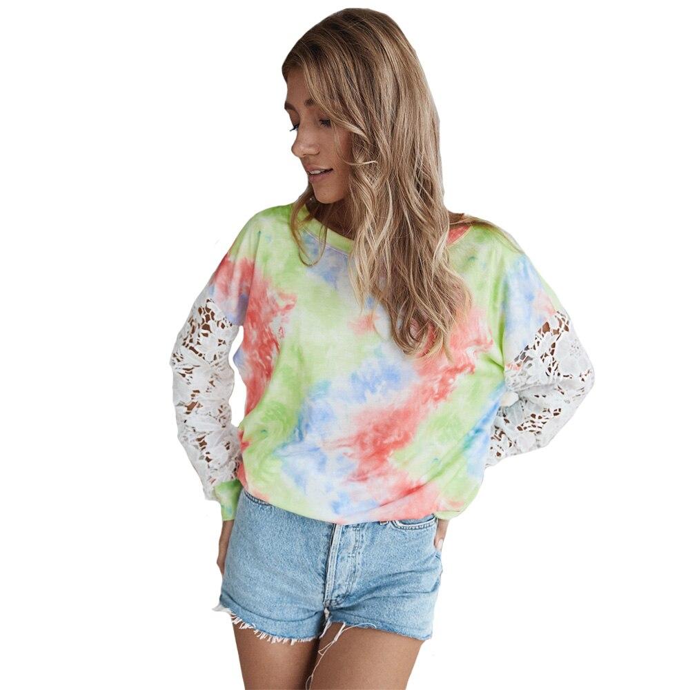 Купить повседневная женская футболка кружевной лоскутный пуловер с