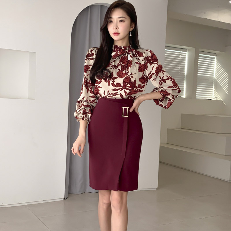 2020 Spring Clothing New Products Korean-style Elegant Lantern Sleeve Printed Shirt High-waisted Sheath Skirt Two-Piece Set