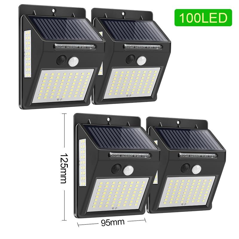 144 100 diodo emissor de luz solar ao ar livre lâmpada solar pir sensor de movimento movido a energia solar luz de rua para a decoração do jardim