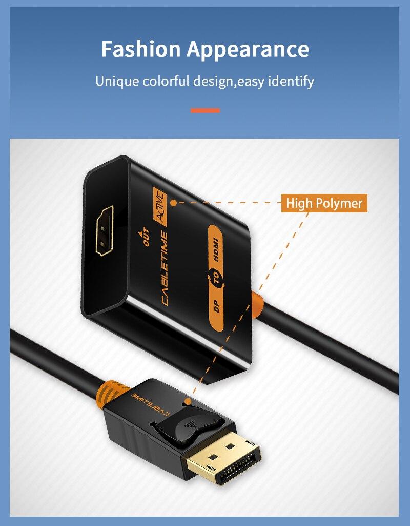 Cabletime Dp Naar Hdmi-Compatibel M/F Converter 4K/2K Display Port Naar Hdmi-compatibel Adapter Displayport Hdmi 4Kfor Macbook N007 27