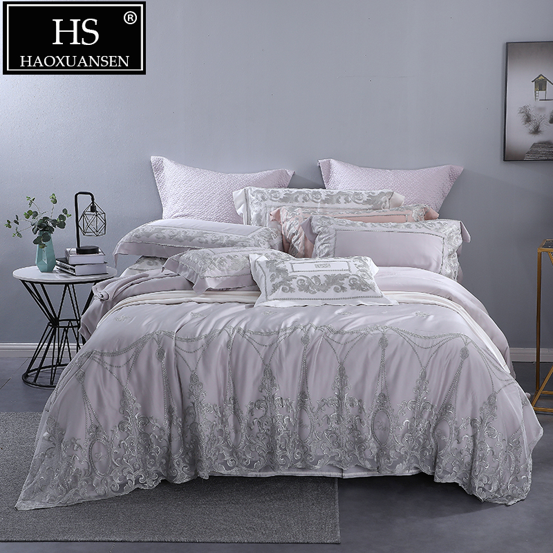 Grey 100% Tencel Lyocell Lace Princess 4 Piece Bedding Sets 800 Thread Count Wedding Bed Sheet Set For Adult Bed Queen King Size image