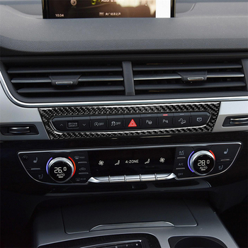Carbon Fiber Interior Decoration Central Control Console Pannel Frame Cover Trim Stickers for AUDI Q7 SQ7 4M 2016-2019 Car Decal