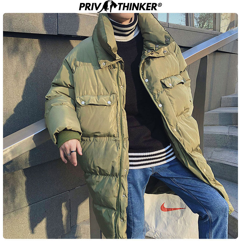 Privathinker Men 2019 Winter Stand Thicken Warm Parkas Men's Long Oversize Windbreaker Outwear Clothes Jacket Male Fashion Parka