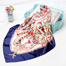Fashion Kerchief Women Neck Scarf For Hair Floral Print Silk Satin Hijab Scarfs Square Shawls and Wraps Scarves For Lady 90*90cm(China)