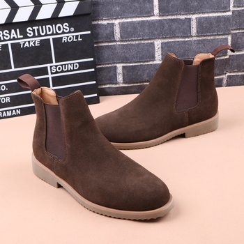 British style men luxury fashion chelsea boots breathable genuine leather shoes black brown ankle boot platform shoe sapato bota