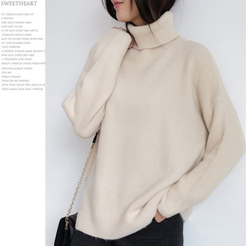 Ailegogo Women Pullover Sweater Knitting Autumn Winter Casual Solid Turtleneck Vintage Ladies Thick Tops SW1027 4