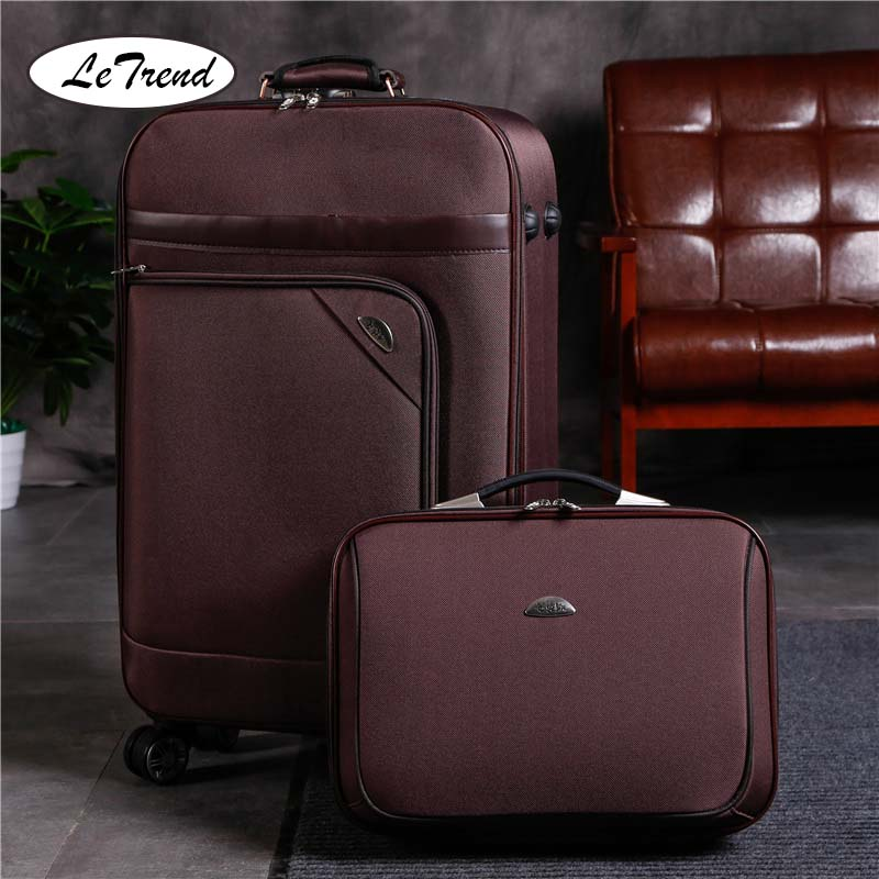 LeTrend Men Business Spinner Rolling Luggage Set Women Password Suitcase Wheels 20 Inch Carry On Trolley Laptop Travel Bags