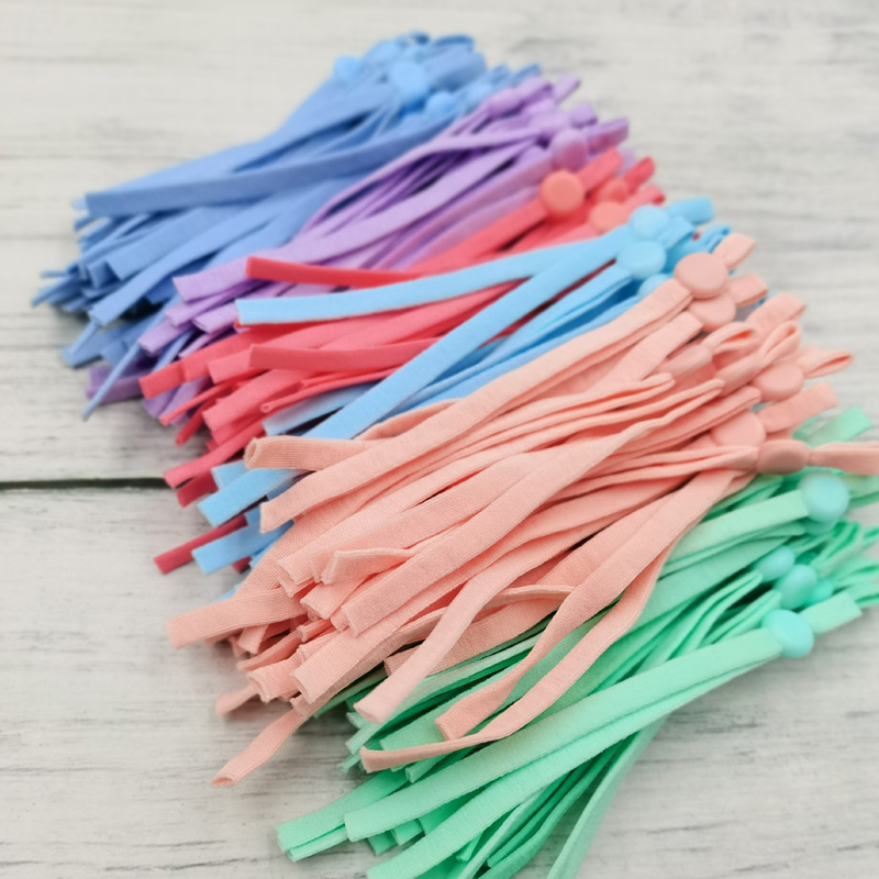 100 Pcs mask Sewing Elastic Band Cord with Adjustable Buckle Stretchy Mask Earloop Lanyard Earmuff Rope DIY Making Supplies