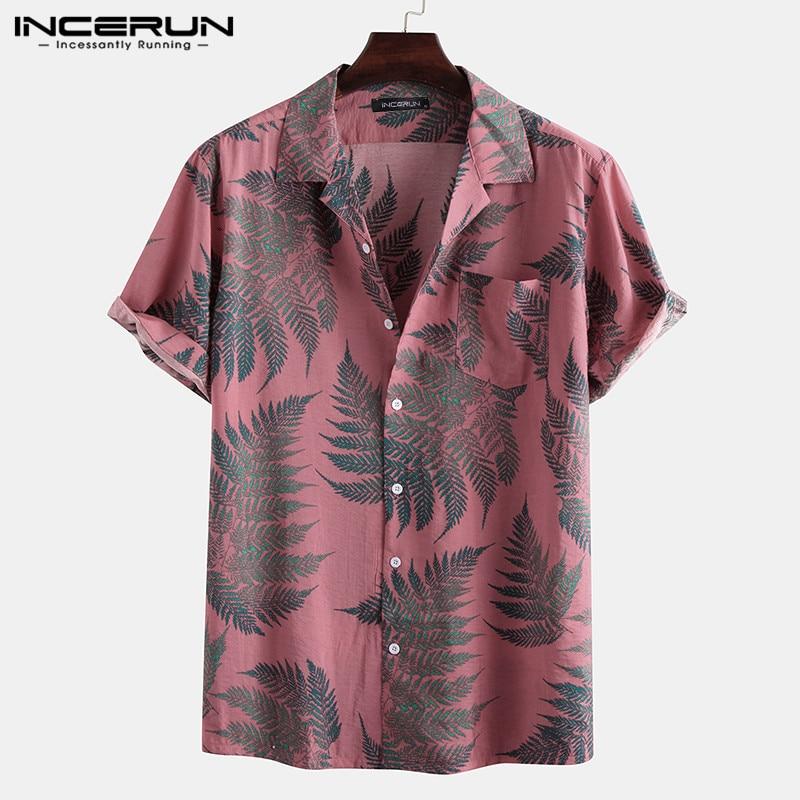 INCERUN Men Short Sleeve Lapel Printed Shirt Tropical Leaf Pattern Floral Shirt Casual Summer Hawaiian Holiday Camisa Tops S-5XL 5
