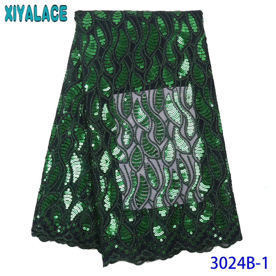 Emerald Green French Net Lace High Quality African Tulle Lace Nigerian Fabrics Laces With Sequins For Party Dresses KS3024B