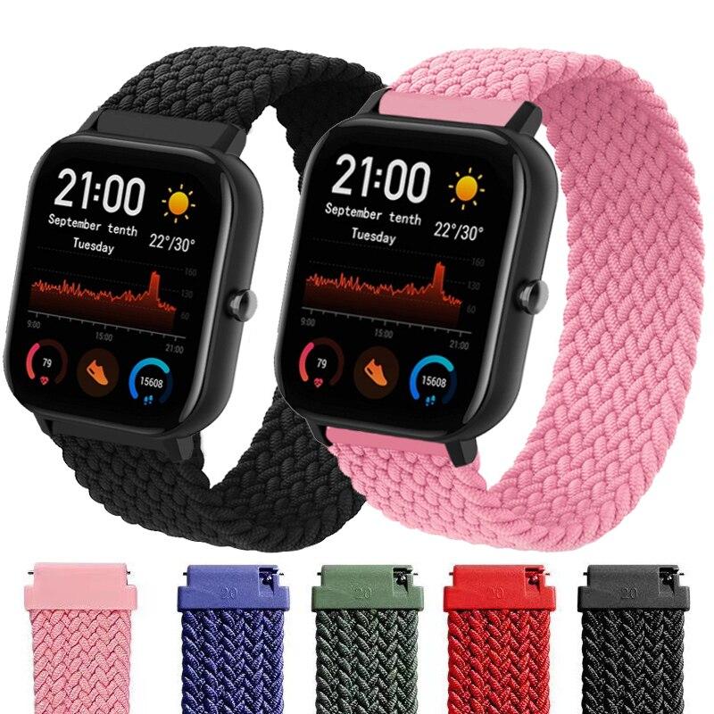 Ремешок нейлоновый Плетеный для Xiaomi Amazfit gts2 Bip Gtr, браслет для наручных часов huawei watch gt2, 20 мм 22 мм