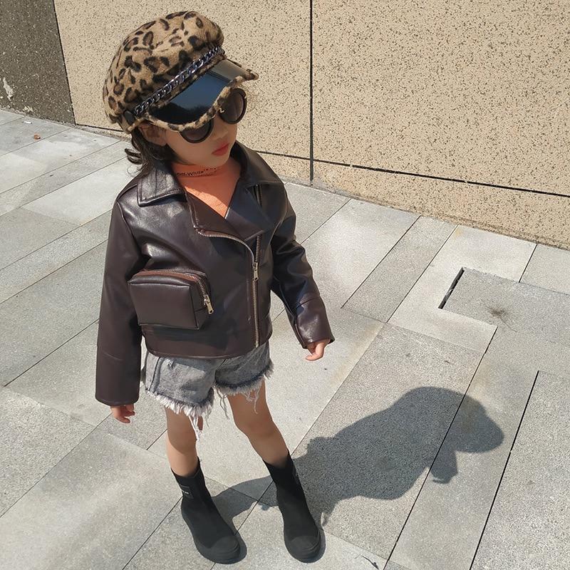 2-6 Aged Toddler Girls Hot PU Leather Zipper Moto Jacket Autumn Spring 2T-6T