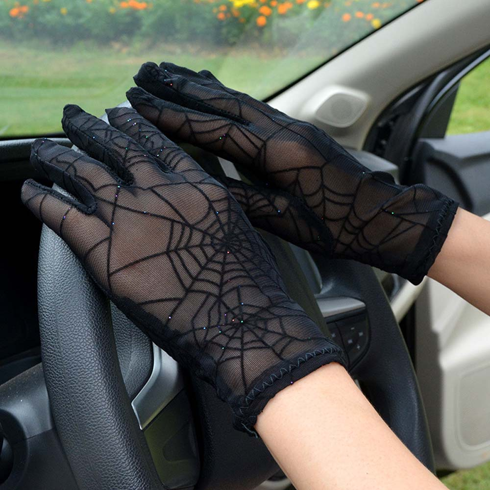 Fashion Sexy Summer Female Full Finger Short Lace Gloves Women Driving Spider Web Pattern Sun Anti-UV Black Gloves